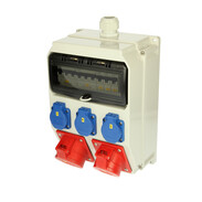 Wall distribution box Anif IP44 2x CEE 16/32A 3x Schuko sockets 5x MCB