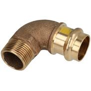 "Gas press fitting gunmetal elbow 90° 14 mm x 1/2"" F/ET V contour"