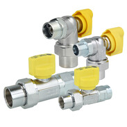 Gas connection ball valves for gas-fired devices