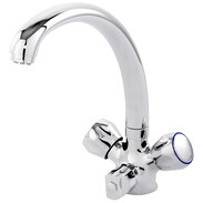 """Two-handle sink mixer """"Doble"""", chrome LOW PRESSURE- dishwasher connection"""