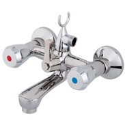 Two-handle bath mixer, without set, plastic tap handle, chrome-plated brass