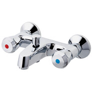 Two handle bath mixer, flat design plastic tap handle, chrome-plated brass