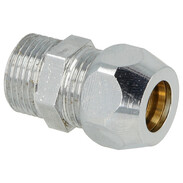 """Straight screw connection one compr. fit 3/8"""" x 8 mm, chrome-plated"""
