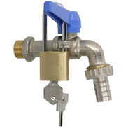 """Brass ball tap valve 3/4"""" with padlock and lever"""