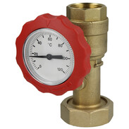 """Ball valve with thermometer red 1"""" IT x 1 1/2"""" union nut 512245127"""