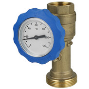 """Ball valve with thermometer blue and non- return valve 1"""" IT x 1 1/2"""" ET 512245139"""