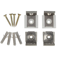 Mirror brackets stainless steel polished 4 pcs. with top and counterpart
