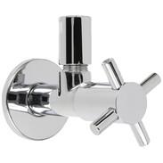 "Design angle valve Maya, 1/2"" chrome, compression fitting+rosette"