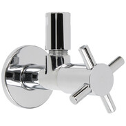 "Design angle valve Maya, 1/2"" chrome, compression fitting+rosette"