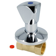 """In-wall valve with three-cornered handle 3/4"""" IT blue/cold"""