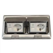 Socket outlet aluminium cast 2 shockproof sockets