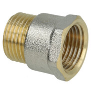 """Coupling brass nickel-plated on the outside 1/2"""" ET x 1/2"""" IT"""