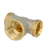 """Tee brass nickel-plated on the outside 1"""" ET euro cone x 3/4"""" IT x 1"""" ET euro cone"""