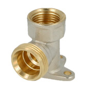 """Wall plate elbow brass nickel-plated on the outside 1/2"""" ET euro cone x 1/2"""" IT"""