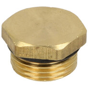 """Drain plug with O-ring, 3/8"""" brass"""
