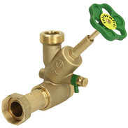 "Distribution T valve free flow DN20 1"" inlet x  1 1/4"" outlet, top, brass"