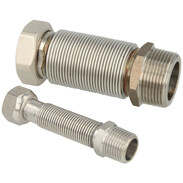 """Flexible corrugated stainless steel pipe extendable  1"""" 260 - 520 mm with gasket"""