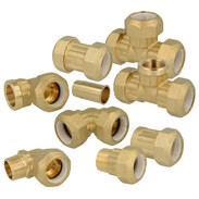 Compression fitting with resin ring for PE and PVC-pipes