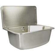 Stainless steel utility sink with shelf