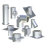 Double-walled stainless steel flue system Ø 150 mm with 25 mm insulation