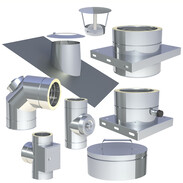 Double-walled stainless steel flue system Ø 180 mm with 25 mm insulation