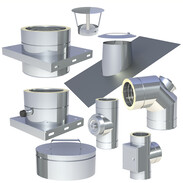 Double-walled stainless steel flue system Ø 130 mm with 25 mm insulation
