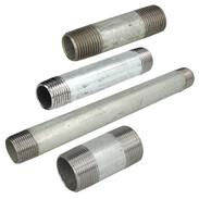 Nipplo doppio a vite in acciaio zincato