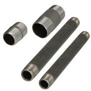 Steel threaded fittings barrel nipple black
