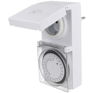 Mechanical 24 h plug-in timer for protected outdoor area