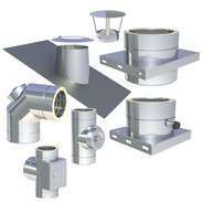 Double-walled stainless steel flue system Ø 200 mm with 25 mm insulation