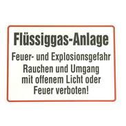 """Sign """"Flüssiggasanlage"""" 250 x 350 mm aluminium"""