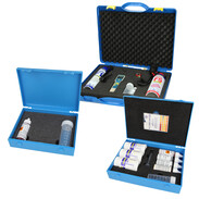 Kits with system cleaners and leak detectors