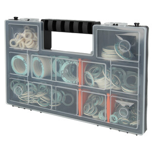 Gasket assortment in plastic box 7 types with 255 fibre gaskets