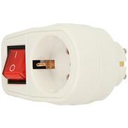 Intermediate plug with switch, white