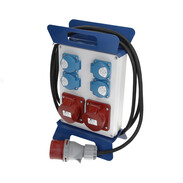 Power distributor with 4 safety socket outlets and 2 CEE socket outlets