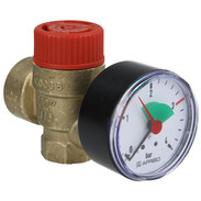Safety valve for heating with pressure gauge