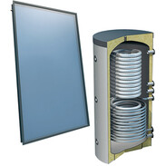 Solar package 4plus® flat-roof 1,000 l fresh watert tube coil 5 collectors 516000529