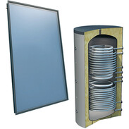 Solar package 4plus® 4 collectors 800 l fresh water flat roof 2 tube coils 516000547