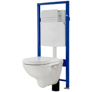 WC-complete set wall-mounted WC w seat WC-element with push plate