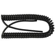 Spiral cable H05VV-F3G 1.5 mm² 1,500 mm/6,000 mm, black