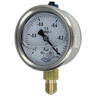 """Vacuum gauge 1/4"""" radial from -1 to 0 bar"""