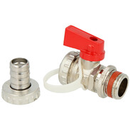 """KFE ball valve ½"""" nickel-plated self-sealing with counter nut"""