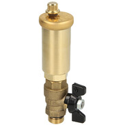 Quick air vent for solar systems with ball valve enabling isolation