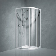 Shower partition quadrant w.sliding door Coral TwiggyTop90, R-550, safety glass