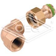 "Press fitting gunmetal elbow union 90° 22 mm x 1""  IT contour V"